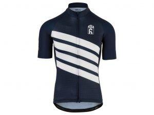 AGU - Classic - Cykeltrøje med korte ærmer - Blå/Hvid - Str. M