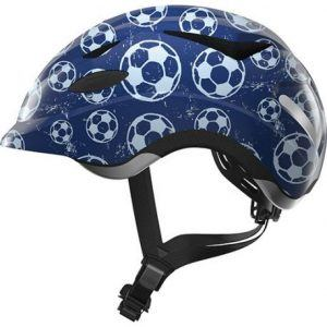 Abus Anuky Cykelhjelm - Blue Soccer med led lys - Børnehjelm