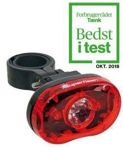 Baglygte SMART SuperFlash rød med batteri RL318R - Testvinder