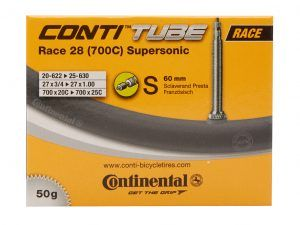 Continental Race 28 Supersonic - Cykelslange - Str. 700x20-25c - 60 mm racerventil