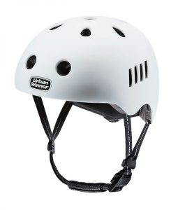 Hvid letvægts cykelhjelm med magnetlås og reflekser, UrbanWinner Classic White
