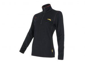 Sensor Merino Fleece Sweatshirt - Dame - Lynlås i halv længde - Sort - Str. XL