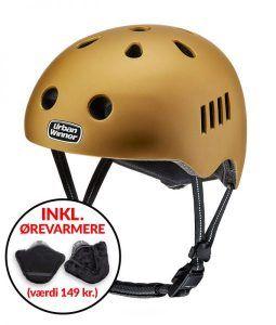 * TILBUD INKL. ØREVARMERE * Guld letvægts cykelhjelm (DEMO MODEL) med magnetlås og reflekser, UrbanWinner Gold Digger
