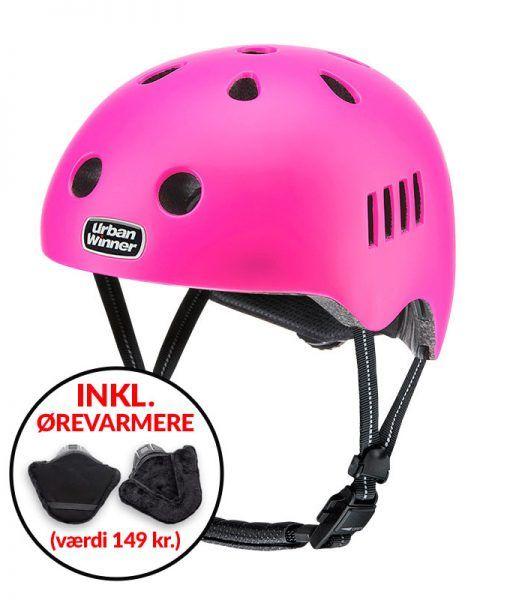 * TILBUD INKL. ØREVARMERE * Pink letvægts cykelhjelm med magnetlås og reflekser, UrbanWinner Girl Power Pink