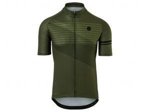 AGU Jersey Striped - Cykeltrøje - Army Green - Str. L