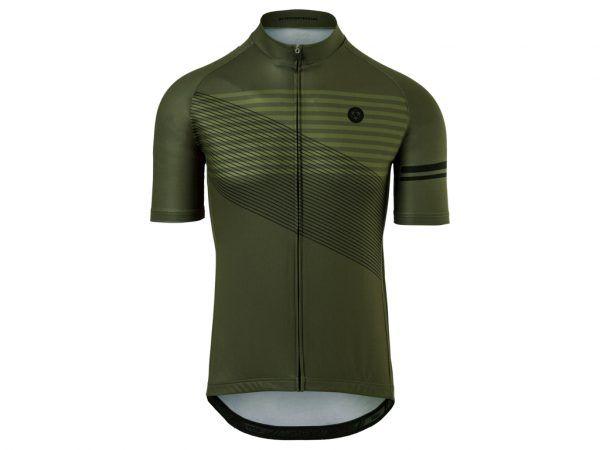 AGU Jersey Striped - Cykeltrøje - Army Green - Str. M
