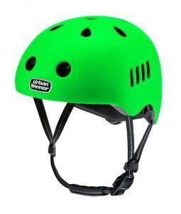 Neon grøn letvægts cykelhjelm med magnetlås og reflekser, UrbanWinner Power Green