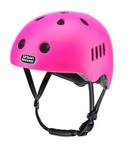 Pink letvægts cykelhjelm med magnetlås og reflekser, UrbanWinner Girl Power Pink
