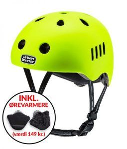 * TILBUD INKL. ØREVARMERE * Gul letvægts cykelhjelm med magnetlås og reflekser, UrbanWinner Screaming Yellow