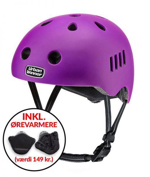 * TILBUD INKL. ØREVARMERE * Lilla letvægts cykelhjelm med magnetlås og reflekser, UrbanWinner Purple