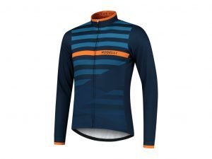 Rogelli Stripe - Cykeltrøje - Lange ærmer - Blå orange - Str. S