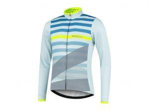 Rogelli Stripe - Cykeltrøje - Lange ærmer - Grå grøn gul - Str. S